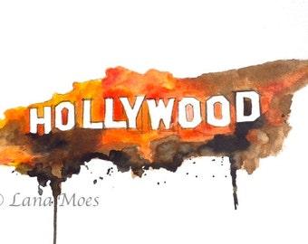 Hollywood Original Watercolor Illustration - Travel Watercolor Painting Titled: Hollywood Land - California Wandelust
