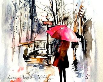 Paris Travel Red Umbrella Print from Watercolor Illustration - Parisian Street - Lana's Art - Wanderlust Paris