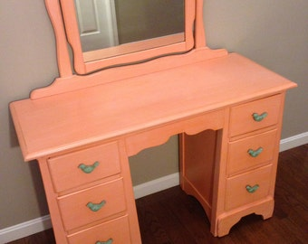 SOLD - Vintage Hand-Painted Coral Vanity