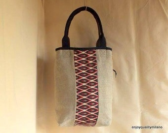 Large linen and pattern fabric tote