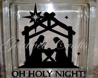 Glass Block Sticker Etsy - Nativity vinyl decal for glass block light