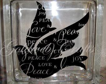 DIY Decal for Glass Blocks - Dove, Peace, Love Joy Glass Block Decal