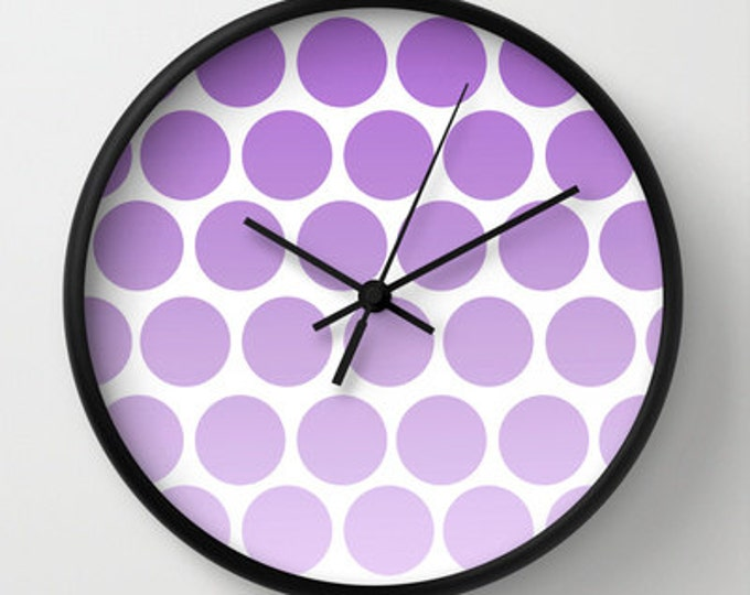 Purple Polka Dot Clock - Wall Clock - Polka Dots - Purple Clock - Choice of Frame Color - Made to Order