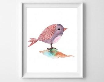 Whimsical Bird Print, Watercolor Bird, Bird Nursery Decor,  Childs Room Art