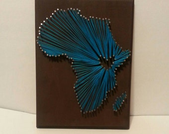 Africa Continent and Country String Art with Heart