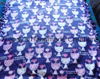 "Large Handmade Fleece Tied Throw / Blanket 53"" X 65"" Purple Kitty Cat Front  / Purple Back / Warm / Cuddley / FREE SHIPPING"