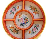 Antique Moriyama Mori-machi Divided Ceramic Dish, 5 Section, Hand Painted, Japan, 1926-1929, Orange Florals, Vintage Asian Dish-Condiment
