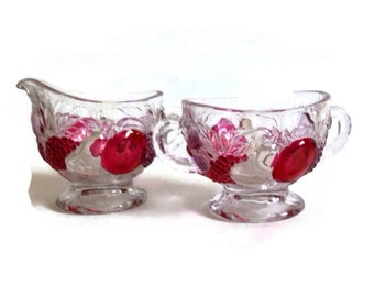 Vintage Westmoreland, Della Robbia, Footed Sugar and Creamer, Ruby Red Stained, 1928-1940, Flashed Fruit-Glassware