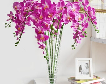 5 pcs Purple Orchids Artificial Flowers Wedding Dinner Venue Decoration Butterfly Orchid Phalaenopsis Flowers