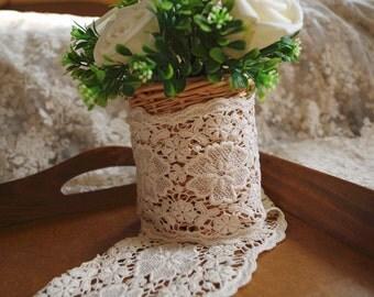 cream Cotton Lace Trim, vintage lace trim, cotton trim lace