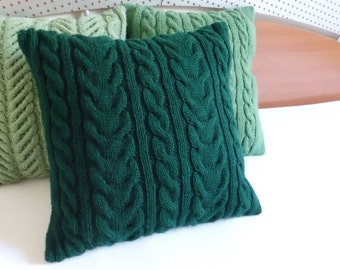 Dark Green Cable Knit Cushion Cover, Throw Pillow, Cable Knit Pillow Case, Decorative Couch Pillow, Christmas Pillow