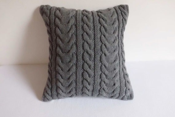 Grey Knit Throw Pillow : Hand Knit Pillow Cover Dark Gray Throw Pillow Charcoal Cable