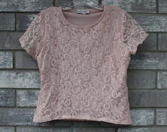 girly pastel pink lace top