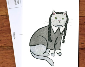 Halloween Cat Card - Halloween Postcard - Wednesday the Goth Cat - cat card -from original watercolor painting.