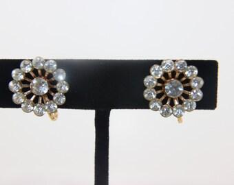 REDUCED!! Vintage Earrings Gold Tone Clear Rhinestone