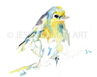 "Print of Original Watercolor Painting, Titled: ""Baby the Bird"" by Jessica Buhman 8 x 10 Yellow Blue"