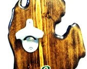 "Handcrafted Michigan bottle opener by ""Drink Local""."
