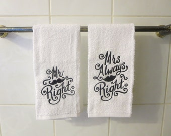 Set of 2 Mr. and Mrs. Hand Towels