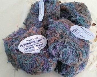 Free Shipping 6 Balls Manetto Hill Arabesque Soft Blues Greens, Tan, Purple Yarn Bulky 393 Yards Total