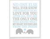 No One Else Will Ever Know The Strength Of My Love Quote, Baby Boy Nursery Wall Art, Elephant Nursery,  Blue Gray Decor, Mother Son Art