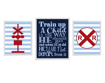 Proverbs 22:6, Train Wall Art, Baby Boy Nursery, Train Nursery Print, Train Up A Child Quote, Boy Room Art, Big Boy Room, Train Room, Gift