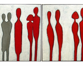 Red, White,Abstract Painting, Acrylic painting People figure painting on canvas ,  unique style by M.Schöneberg  48x24x0,75 FREE shipping