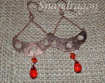 Copper dangle earrings with red and orange crystal drops