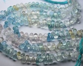 8 Inch Strand,Natural Aquamarine Faceted Drops Shaped Briolettes,7-8MM