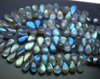 204 Carats,8 Inch Strand,Superb-Finest Quality Labradorite Smooth Pear Shape Briolettes,12-14mm size