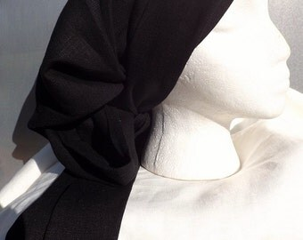 300 Midnight Black 100% Linen Long Head Band Scarf with Matching Long Wrap Ties