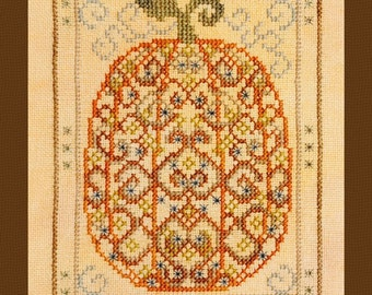 Halloween Cross Stitch Instant Download PDF Pattern Ornamental Pumpkin Counted Embroidery Design Hallows Eve DIY Home Decor Fun X Stitch