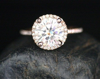 Stunning Moissanite Engagement Ring Diamond Halo Ring in 14k Rose Gold with Forever Brilliant Moissanite Round 9mm and Diamonds
