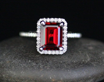 Stunning Natural Red Garnet Engagement Ring Diamond Halo Ring in 14k White Gold with Pyrope Garnet Emerald Cut 9x7mm