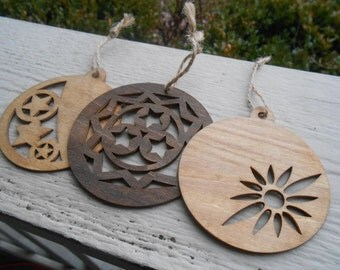 Set of 3 Ornaments, Laser Cut. Christmas, Holiday Decoration. Rustic. Gift Mom, Dad, Unique