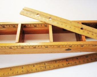 Three Wood Rulers - 'Falcon' Ruler - 'Standard Oil' Ruler Box - 10 Cent Ruler, Made in Japan - Office - School - Library - Vintage Decor