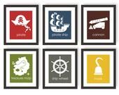 Pirate Theme, Children's Art, Pirate Wall Art, Treasure Map, Kids Pirate Room Decor, Toddler Boy Room, Playroom Prints, Modern Nursery