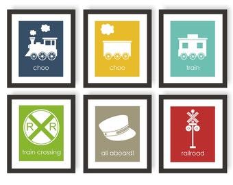Train Wall Art, Boys Room Prints, Train Nursery, Choo Choo Train Art, Playroom Decor, Baby Boy Nursery, Train Engineer, Railroad Art