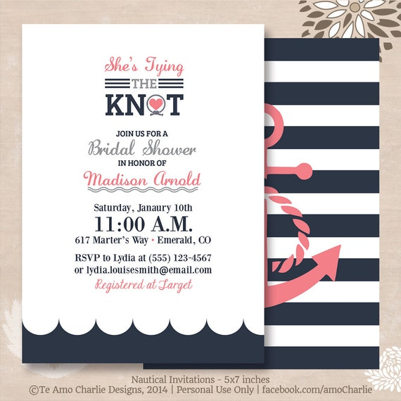 Tying the Knot Nautical Bridal Shower by PalmBeachPrints on Etsy