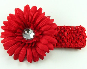 Red Flower Headband.Gerbera Daisy Hair Clip.Crochet Headband.Flower Headband.Christmas Headband.Baby Girl Headband.Holiday Headband.Red