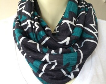 Teal, black and white soft stretch jersey infinity scarf, Teal and black tribal print, womens infinity scarf, aztec print scarf