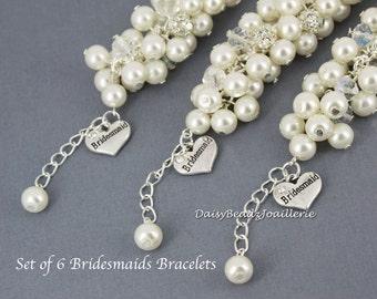 Set of 6 Ivory Cluster Bracelet, Pearl Bracelet, Ivory Bracelet, Bridesmaid Bracelet, Bridesmaid Gift, Chunky Bracelet