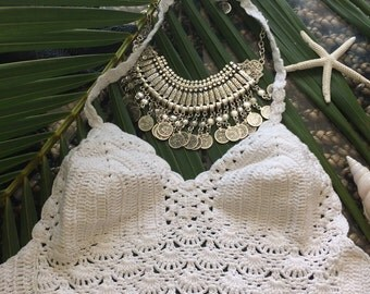 Hand crochet halter top