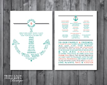 Double-sided Anchor | Nautical Wedding Ceremony Program - Fully Customizable Wording - Digital Printable (5x7 or Custom Size)