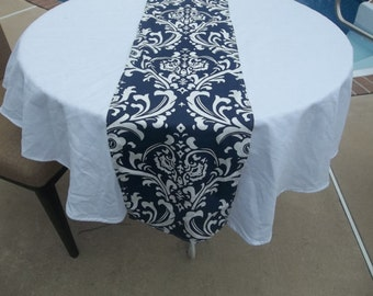 Navy and white damask table runne12x72- 8.50
