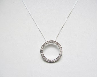 Circle Pendant CZ and 925 Sterling Silver