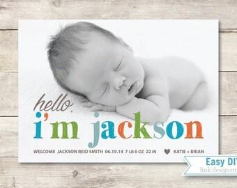 Hello Baby Birth Announcement (Boy or Girl) - DIY Printable PDF files