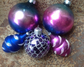 Set of Five Vintage Christmas Ornaments in Blue and Purple Ombre/Mica