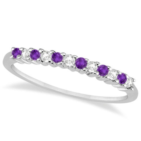 and amethyst wedding band 18k white gold by