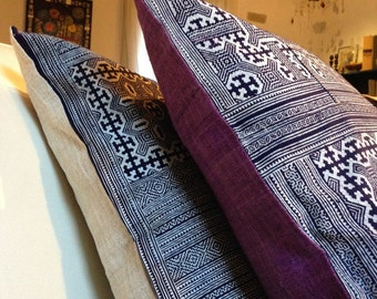 "Blue HMONG Traditional Fabric, HEMP handmade PURPLE fabric- 20"" x 20"" inch, Tribal pillow, Indie pillow, Asian pillowcase, Cushion cover"