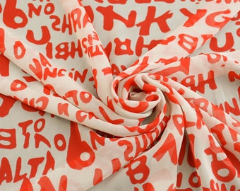 Orange Typography Chiffon Fabric - 1 Yard Style 8017